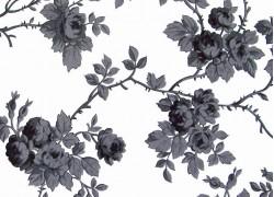 Stoff Rosenranken schwarz weiß