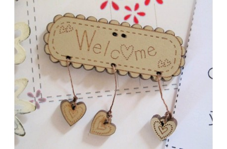 Knopf Welcome Holzschild