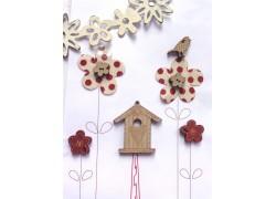 Holzknöpfe Vogelhaus rot creme