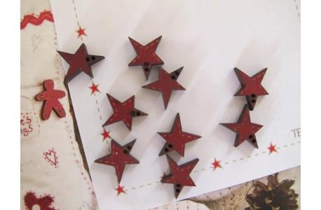 Holzknöpfe Sternchen rot
