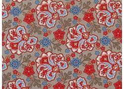 Stoff Blumen rot braun blau