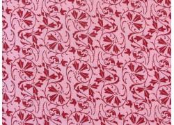 Stoff Blätter rosa bordeaux