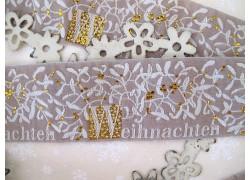 Webband Weihnachten creme gold