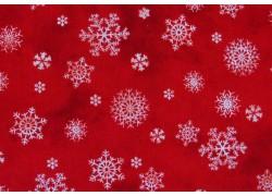 Stoff Weihnachten Eiskristalle Schneeflocken rot weiß