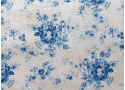 Stoff Rosen creme blau
