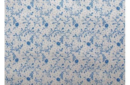Stoff Streublümchen creme blau