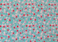 Stoff Streublümchen rosa türkis