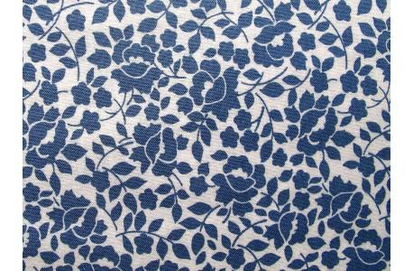 Stoff Röschen blau creme