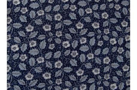 Stoff Blumen Blätter dunkel blau