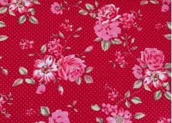 Stoff Rosen rot rosa pink