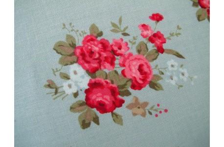 Stoff Röschen türkis rosa