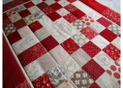Quilt Patchworkdecke rot beige creme