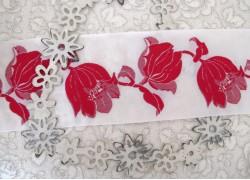 Webband Tulpe rot creme weiß