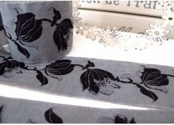 Webband Tulpe grau schwarz