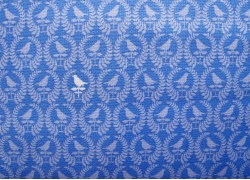Stoff Vögel blau weiß