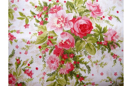 Stoff Rosenbouquets rosa pink