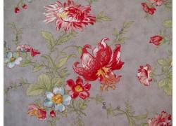 Stoff Blumen rot taupe