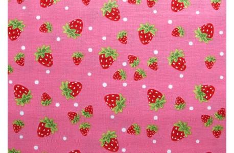 Stoff Erdbeeren pink