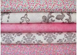 Stoffset rosa pink grau
