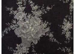 Stoff Rosenranken schwarz grau