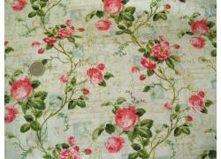 Stoff Rosen pink grün