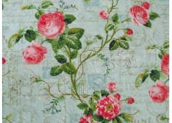 Stoff Rosen türkis pink