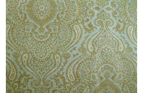 Patchworkstoff Ornamente türkis beige