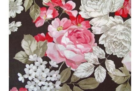 Patchworkstoff rosa braun Rosenstoff
