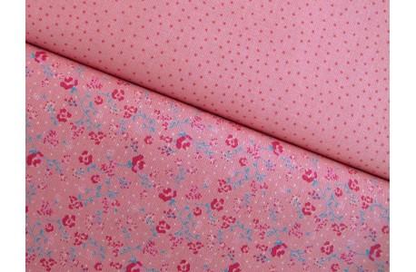 Stoffpaket Baumwollstoffe rot rosa pink mit Blümchen und Pilzen