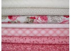 Stoffpaket Rosen rosa pink creme
