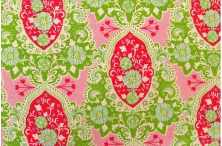 Tildastoff Patchworkstoff Ornamentstoff grün pink