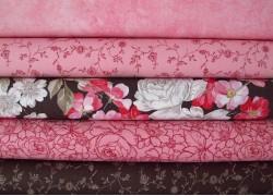 Stoffpaket Rosenstoffe rosa pink braun