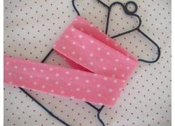 Schrägband rosa weiß Sternchen