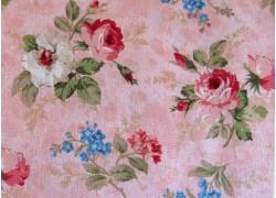 Stoff Blumen Früchte rosa