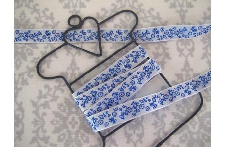 Webband Blumen blau weiß