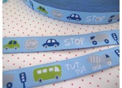 Webband Traffic Farbenmix Busse Autos blau