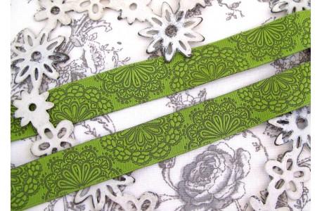Webband Spitzenwerk grün Farbenmix