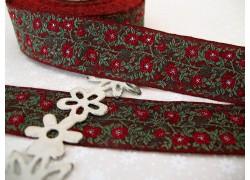 Webband Heckenrose rot grün