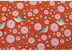 Tildastoff Blumen Vögel orange