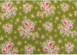Tildastoff Rosenstoff grün rosa