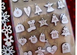 Adventskalenderzahlen creme 1-24