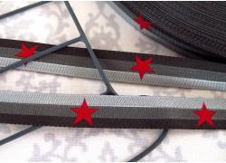 Webband Sterneband grau rot Farbenmix