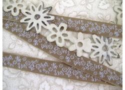 Webband Blumen beige weiß