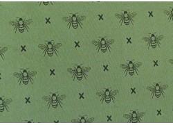 Stoff Bienen grün