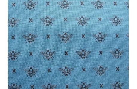 Stoff Bienen Patchworkstoff blau