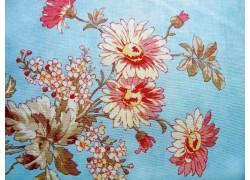 Stoff Blumen blau apricot