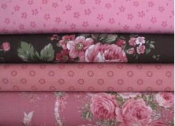 Stoffpaket Rosen rosa braun