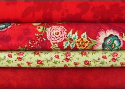 Stoffpaket Rosenstoffe grün rot