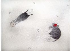 Patchworkstoff Mäuse weiß grau