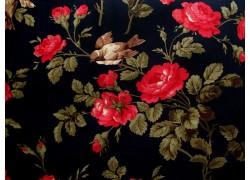 Patchworkstoff Rosenstoff schwarz rot